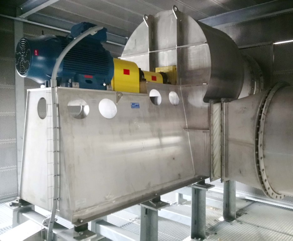 Stainless steel centrifugal fan with flexible coupling, Almeco